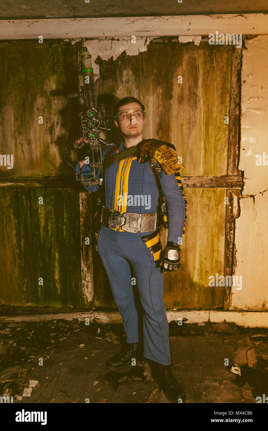 Fallout 76 vault dweller from the Fallout game from Bethesda Stock Photo
