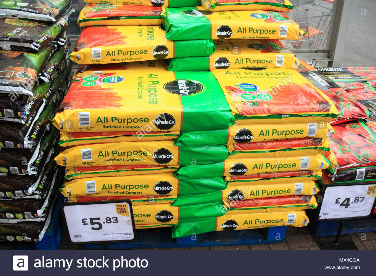 Compost In Stack At Snipe Retail Park Ashton-Under-Lyne Tameside Greater Manchester June 2018 - Stock Image