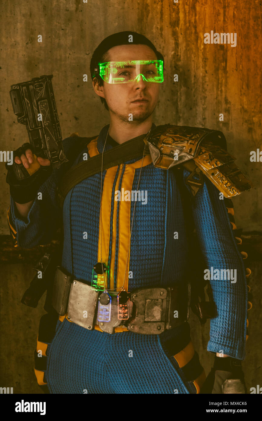 Fallout 76 vault dweller from the Fallout game from Bethesda Stock