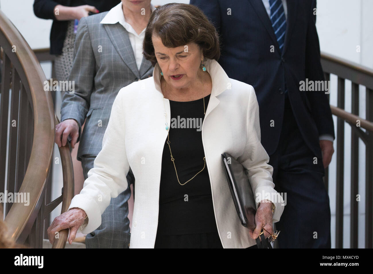 Senator Dianne Feinstein (D-CA) arrives at an all senators briefing on the investigation into President Trump's ties to Russia by Deputy Attorney General Rod Rosenstein at the U.S. Capitol. - Stock Image
