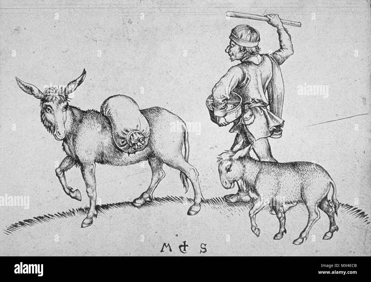 403 Martin Schongauer - Der Müller mit Eselin und Füllen (L 88) - Stock Image