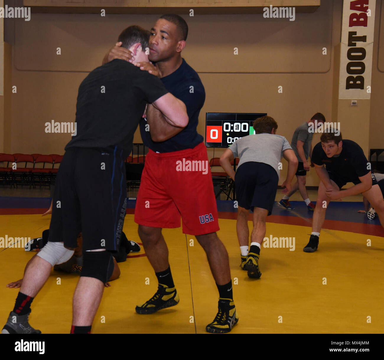 Sherwin Severin, Air Force Wrestling team member, practices with a teammate before the Senior Greco-Roman World team trials in Las Vegas, Nev., April 29, 2017. Severin wrestles in the 85 kilogram weight class. He is stationed at F.E. Warren Air Force Base, Wyo. - Stock Image