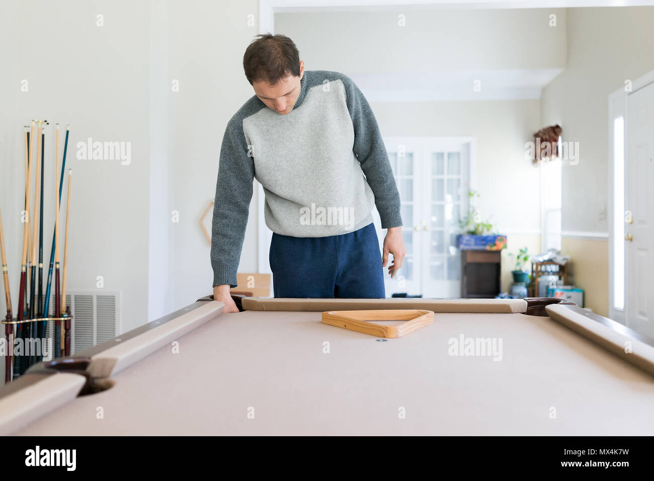 Interior inside house home with billiard pool table in living room ...