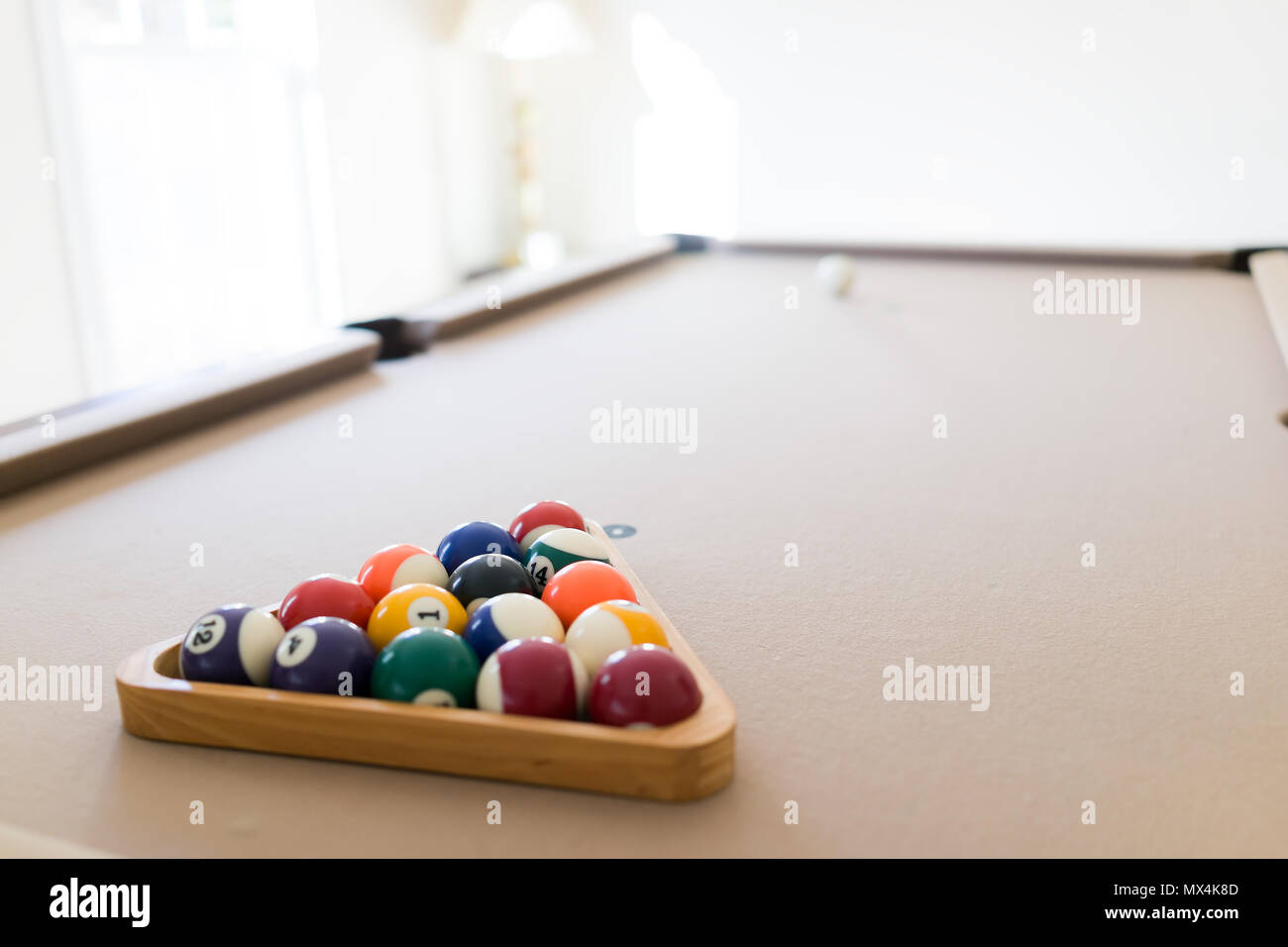 Interior house home with billiard pool table in living room, man ...