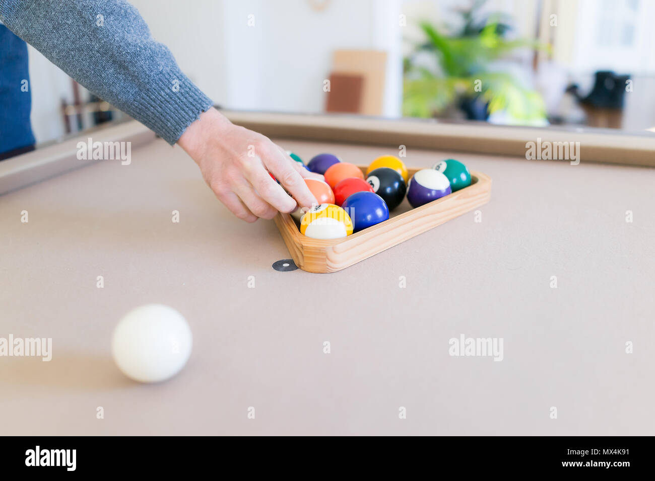 Interior Inside House Home With Billiard Pool Table In Living Room - How to rack a pool table