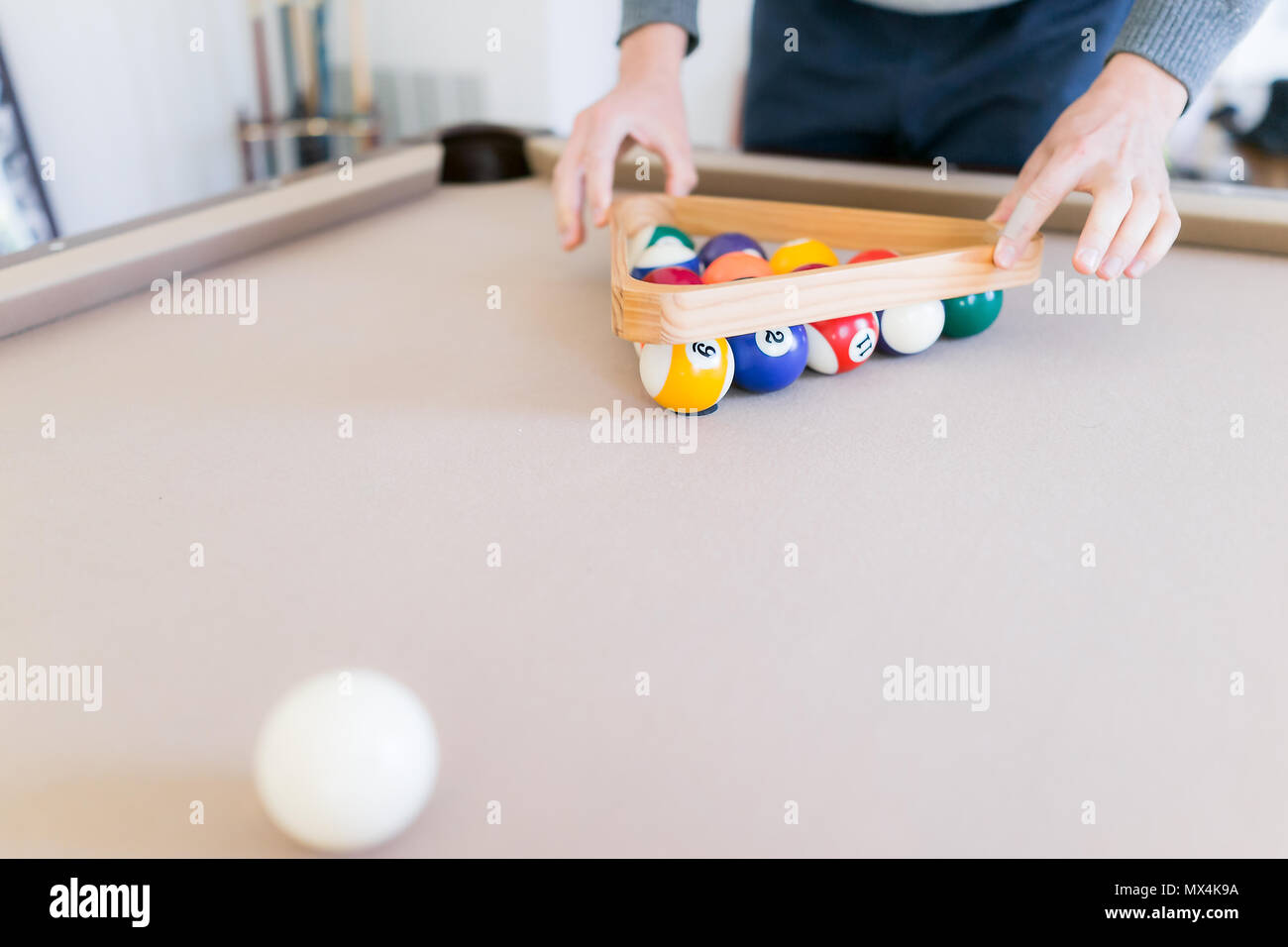 Interior Inside House Home With Billiard Pool Table In Living Room - Lifting a pool table