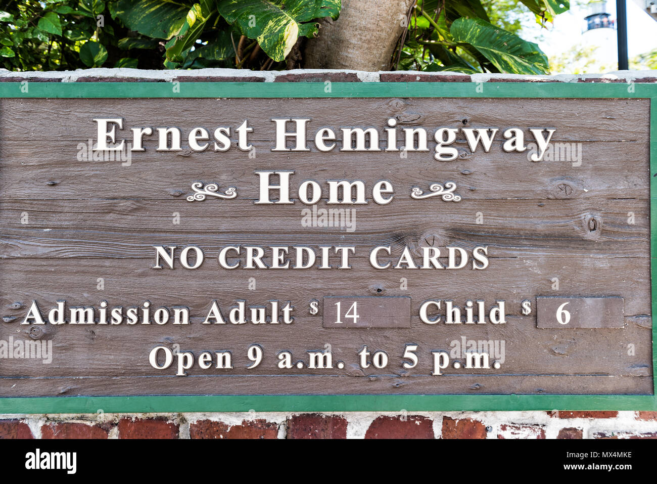 Key West, USA - May 1, 2018: Ernest Hemingway house sign famous entrance with admission costs, no credit cards closeup in Florida island Stock Photo
