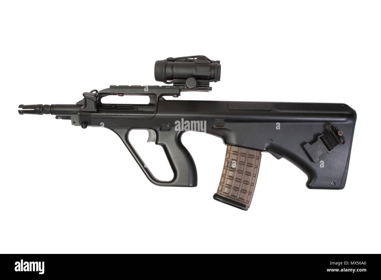 modern assault rifle isolated - Stock Image