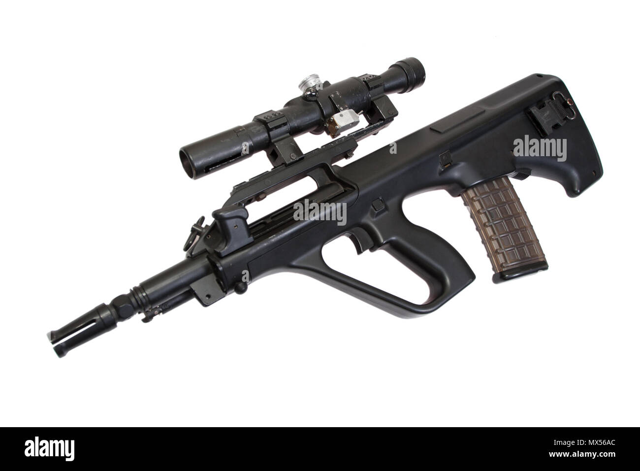 modern assault rifle isolated on a white background - Stock Image