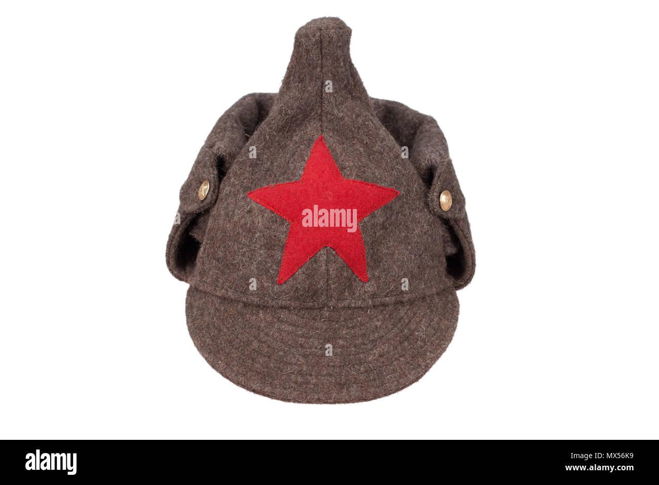 "soviet army winter cap ""Budenovka"" isolated on white background Stock Photo"