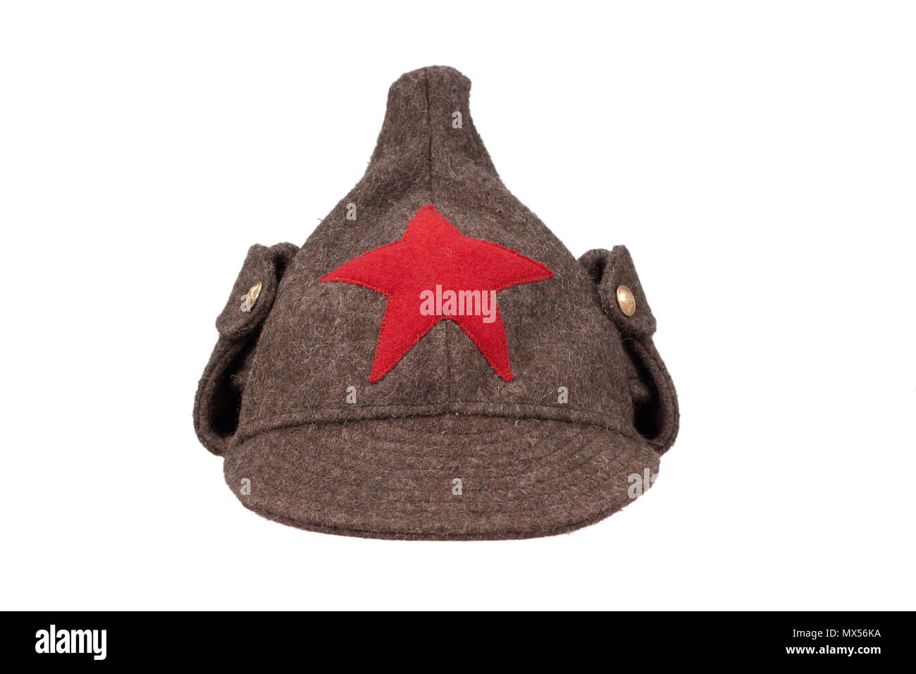 "soviet army winter cap ""Budenovka"" isolated on white background Stock Photo"