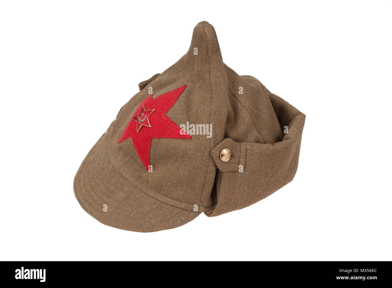 "soviet army cap ""Budenovka"" isolated on white background Stock Photo"