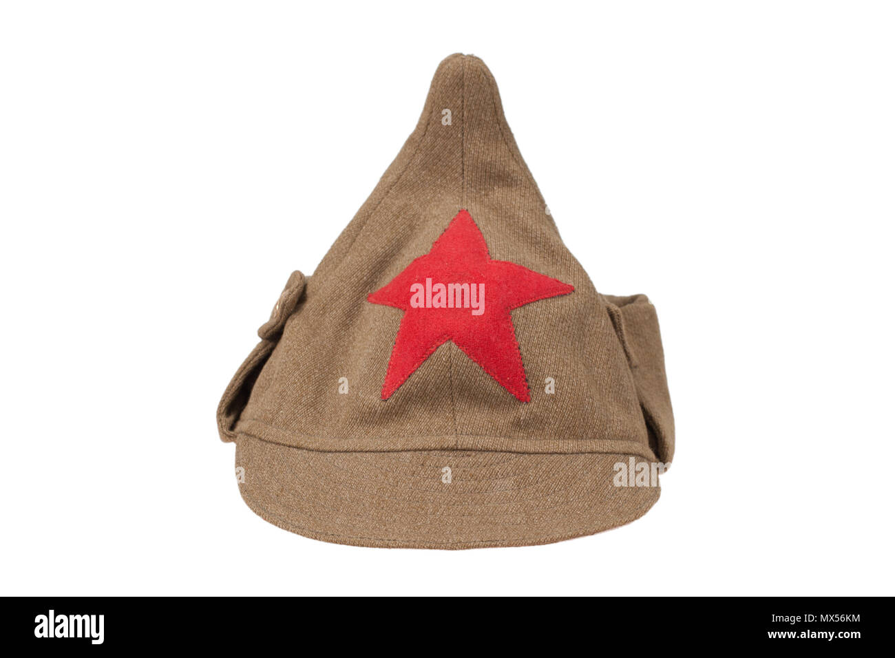 "soviet army cap ""Budenovka"" isolated on white background Stock Photo"