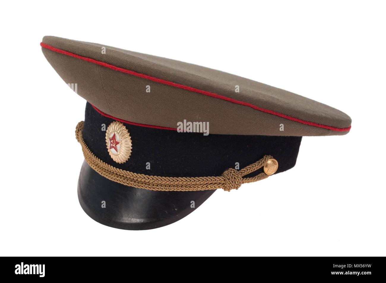 fcfde6deeda95 soviet army officer's cap isolated on white background Stock Photo ...