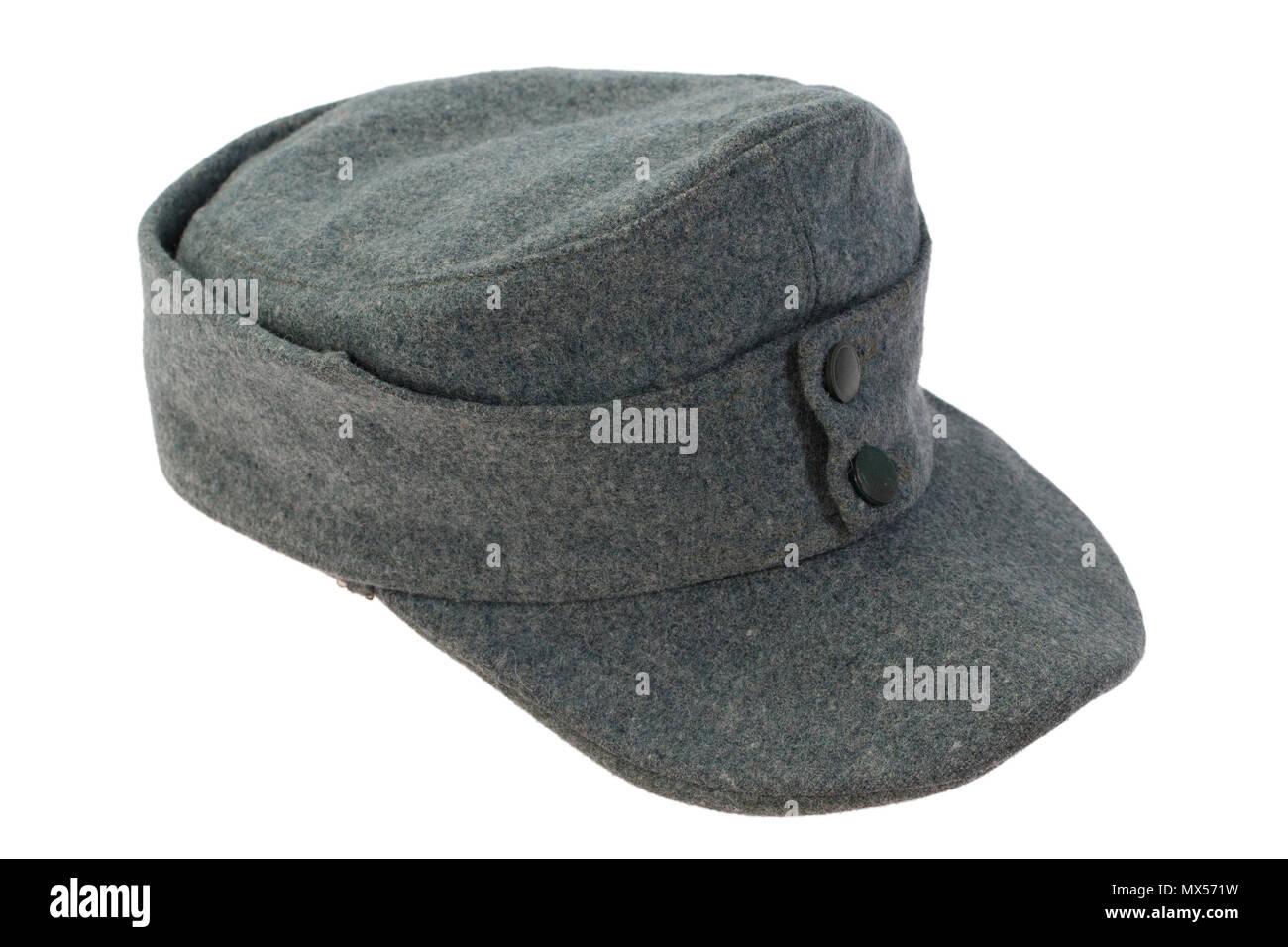 8337af6c6f0 German Army field cap (kepi) World War II period isolated on a white  background