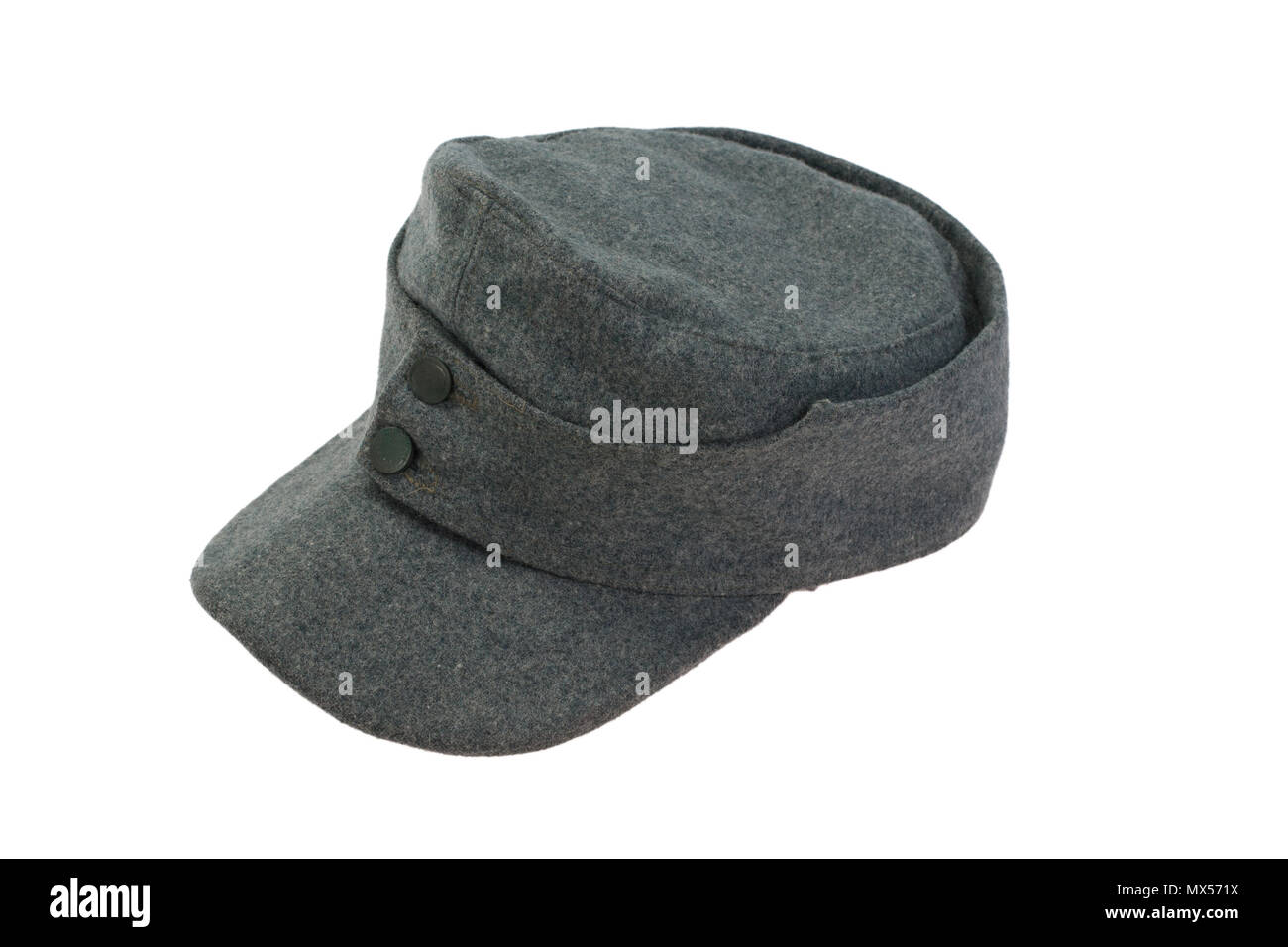 84cf355c66252 German Army field cap World War II period isolated on a white background -  Stock Image