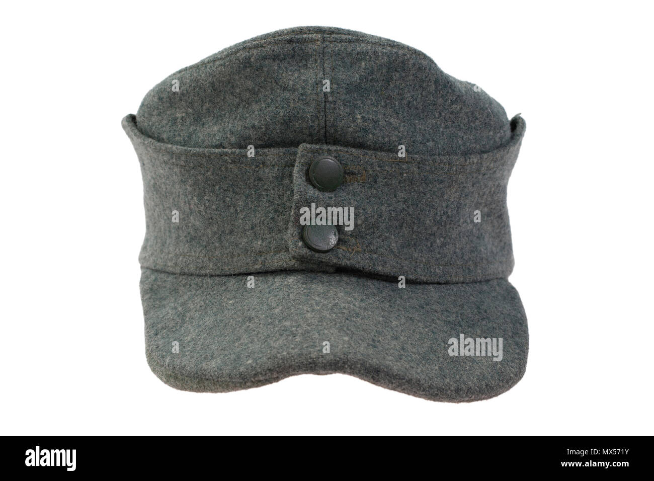 655793cd8576f German Army cap World War II period isolated on a white background - Stock  Image
