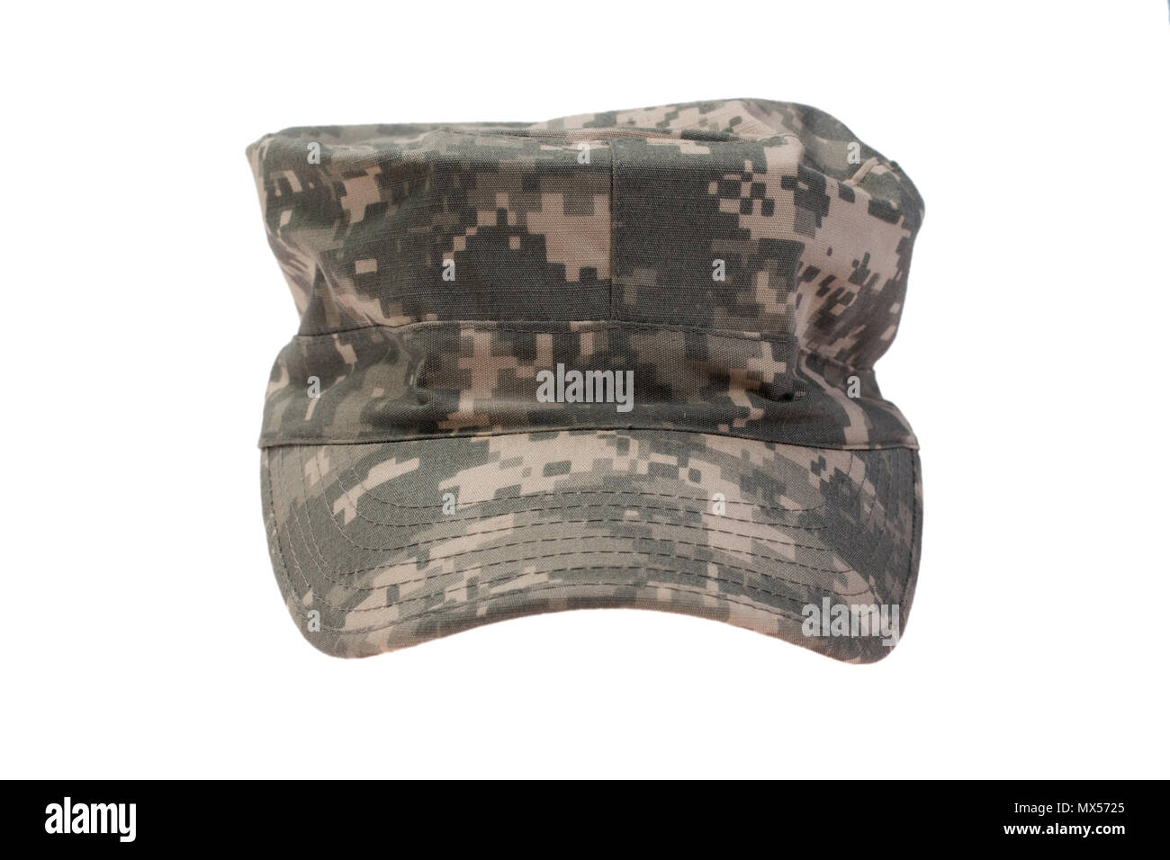 modern us army camouflaged cap on a white background - Stock Image