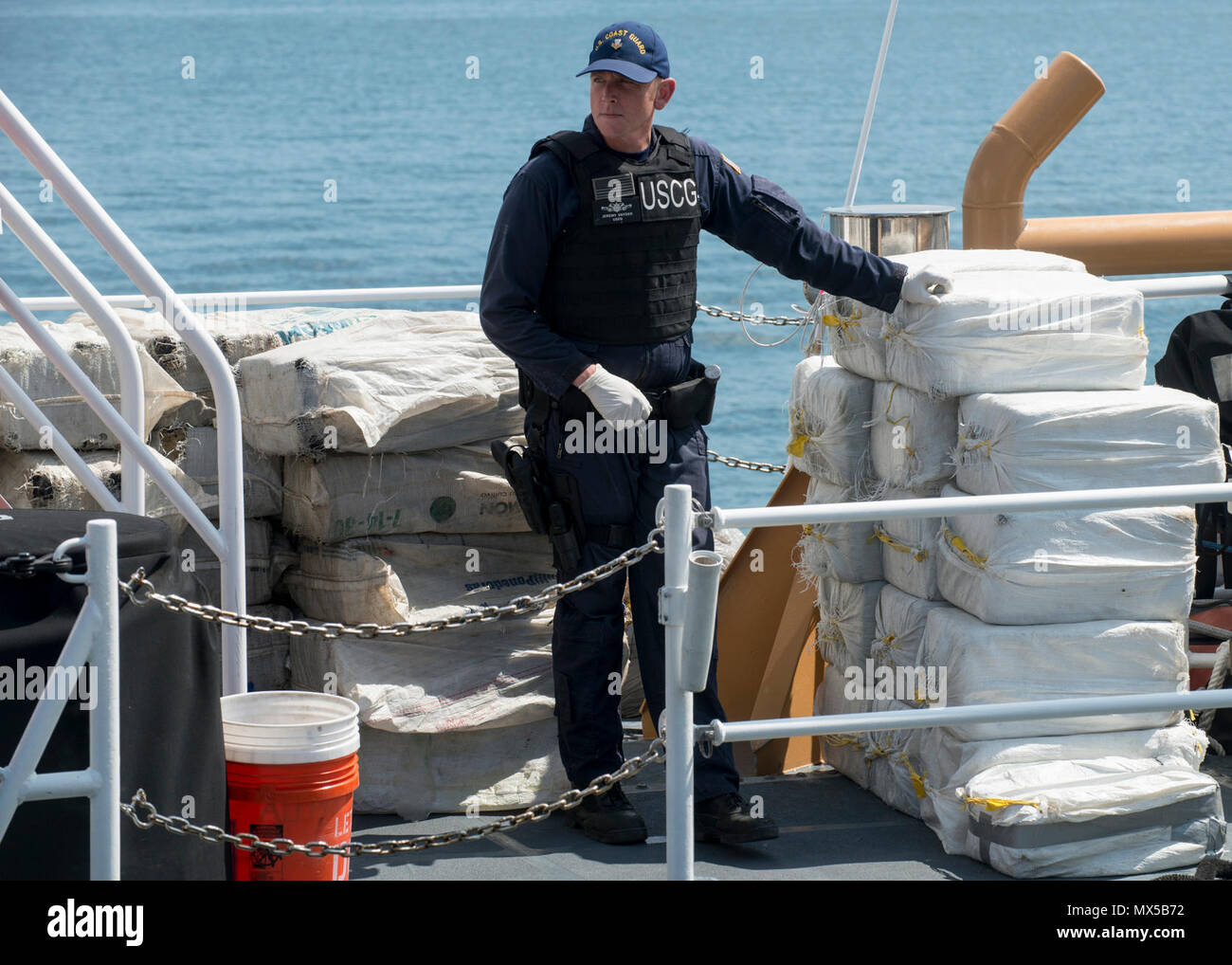 More than 3,825 pounds of cocaine await transfer to federal agents Wednesday, May 3, 2017 at Coast Guard Sector St. Petersburg, Florida. The contraband was interdicted during four separate cases supporting Operation Martillo, a joint interagency and multi-national collaborative effort among 14 Western Hemisphere and European nations to stop the flow of illicit cargo by Transnational Criminal Organizations. - Stock Image