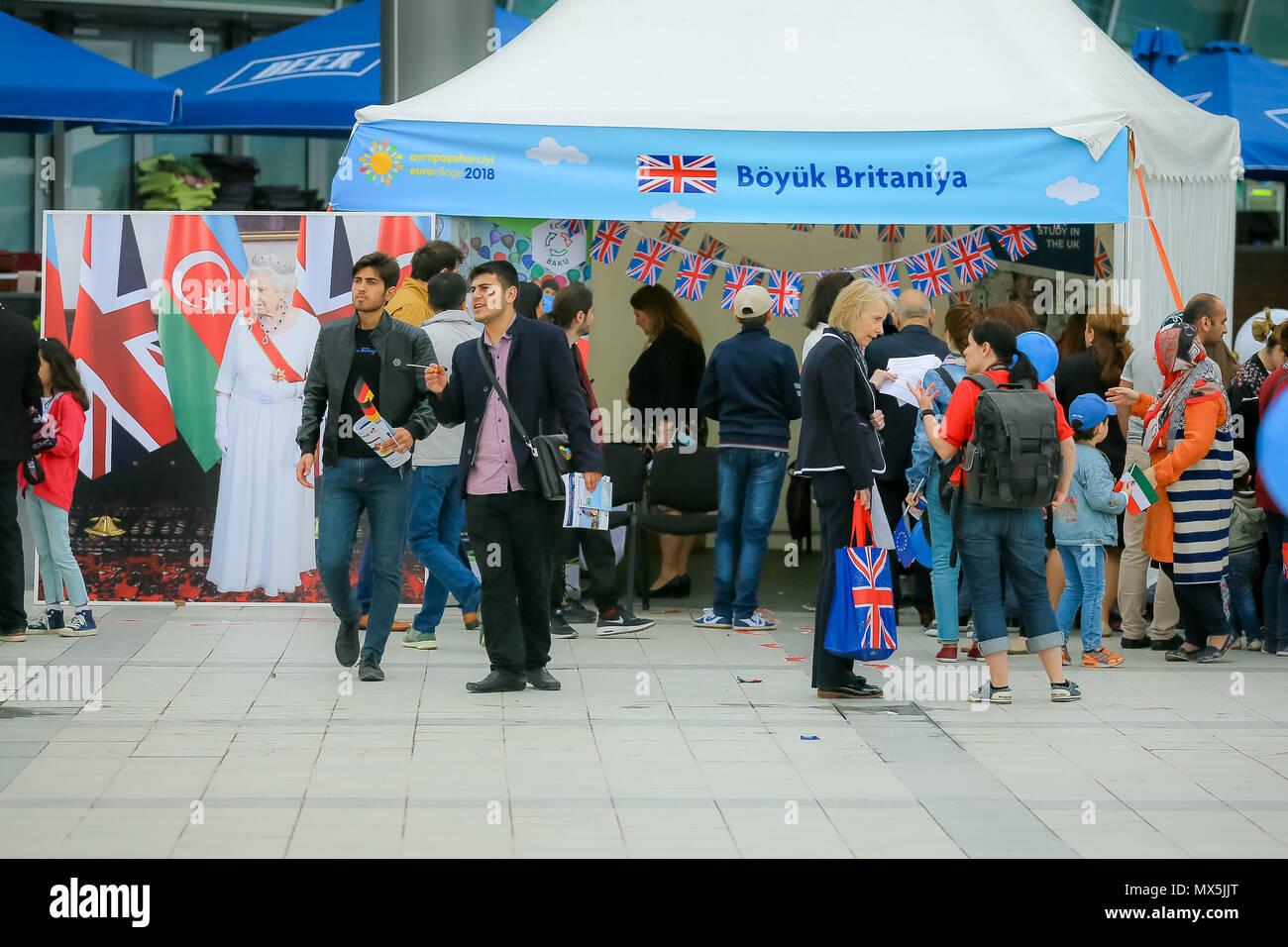 Azerbaijan  02nd June, 2018  Great Britain tents demonstrate their