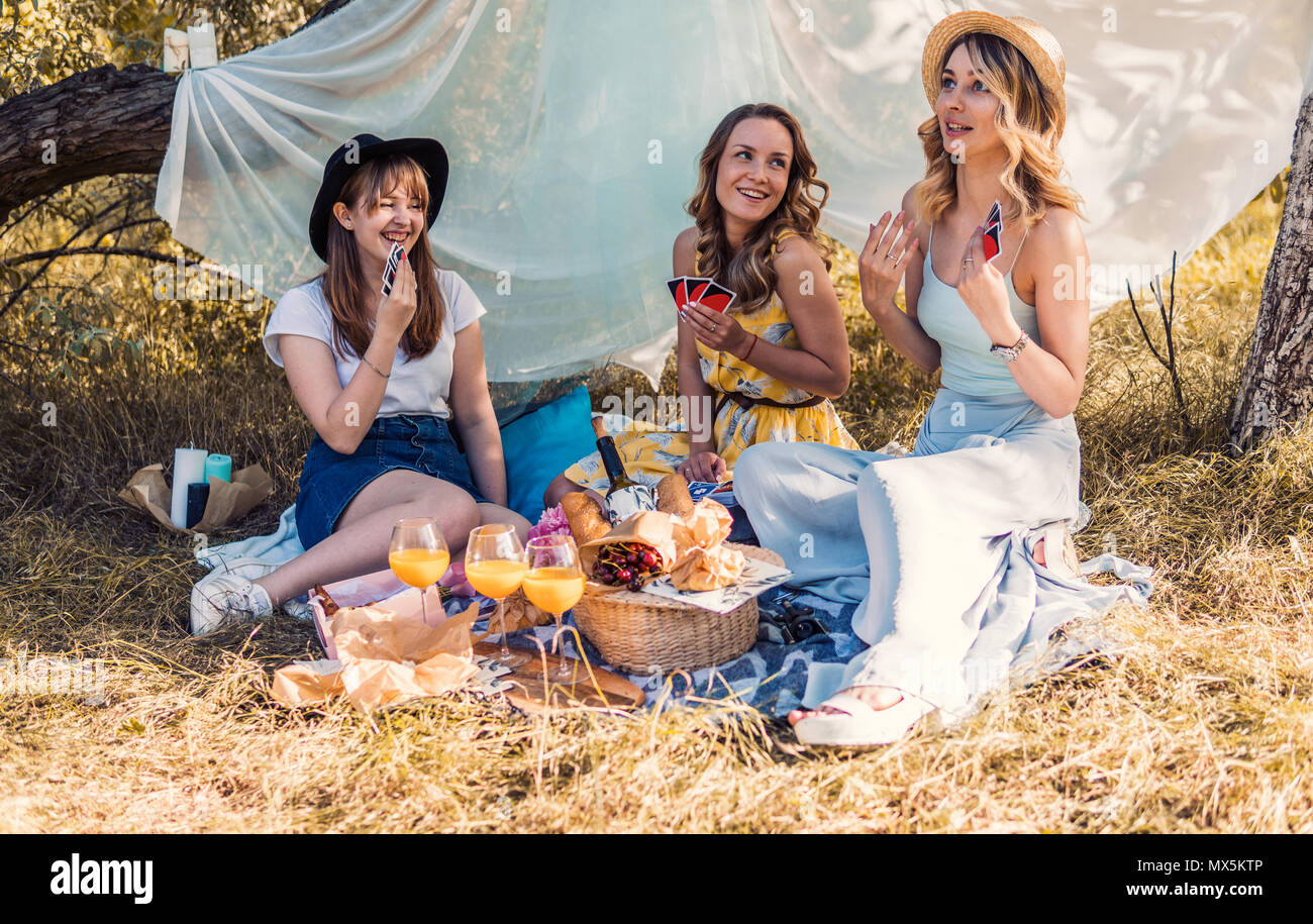 Group of girls friends making picnic outdoor - Stock Image