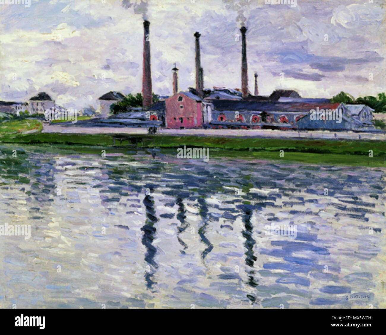 . English: Painting by Gustave Caillebotte, (French impressionist, 1848–1894) entitled Factories in Argenteuil, 1888. Oil on canvas, 25 9/16 x 32 5/16 in. (65 x 82 cm). Private collection . 22 February 2013, 11:06:06. Gustave Caillebotte (d. 1894) 99 Brooklyn Caillebotte factories-in-argenteuil - Stock Image