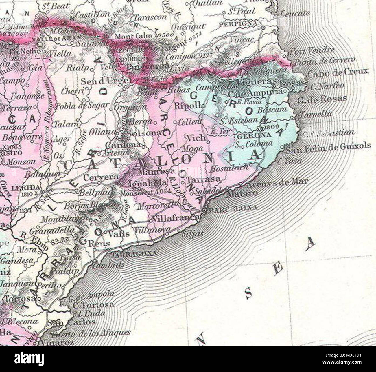 Detailed Map Of Spain In English.Johnson S Spain And Portugal English This Is Johnson And Ward S