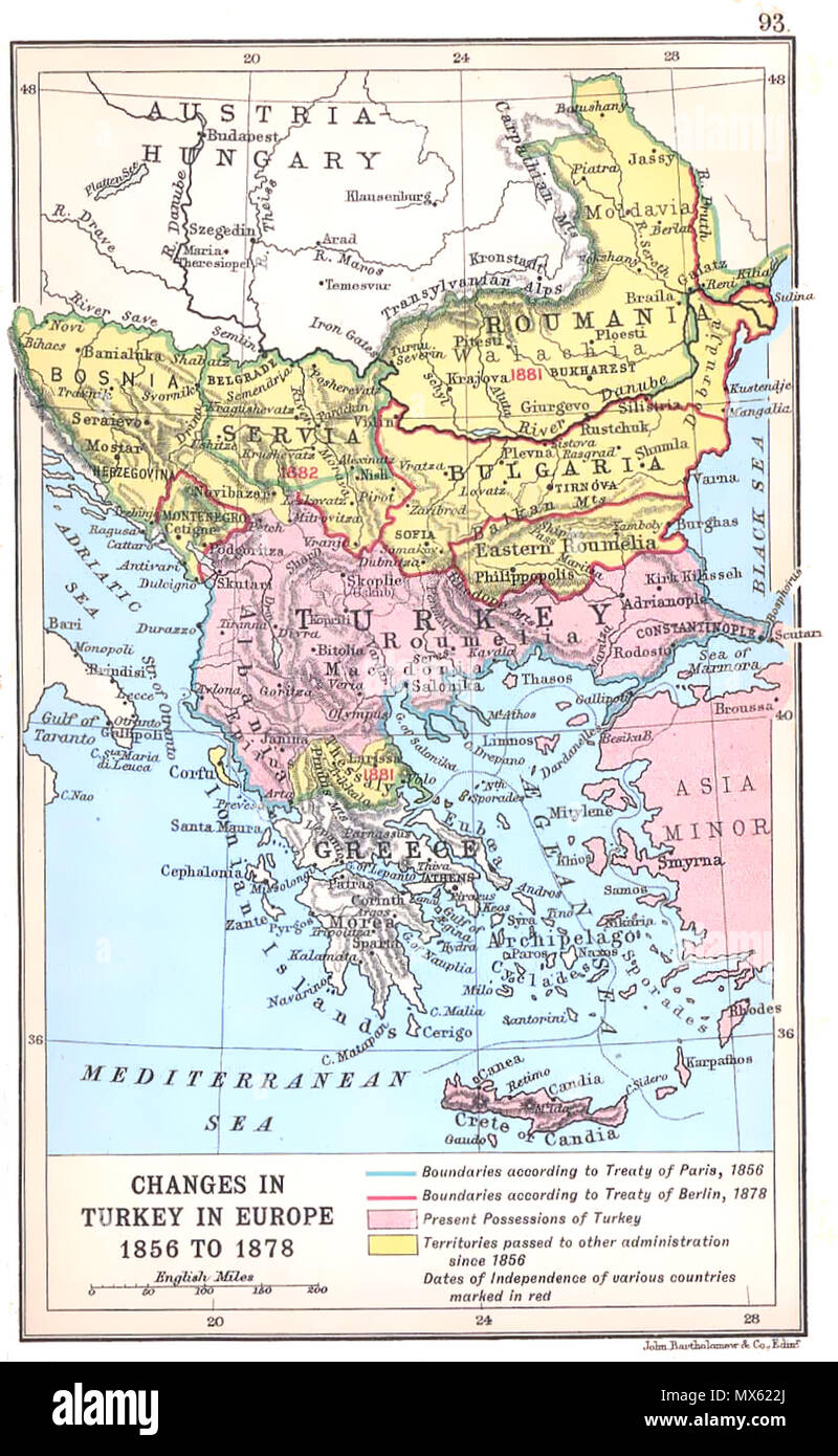 Changes In Turkey In Europe 1856 To 1878 Map Showing The Territorial Changes In The Balkans Between The Crimean War And Serbian Ottoman War 1876 78 Work By J G Bartholomew Dating To 1912 1912