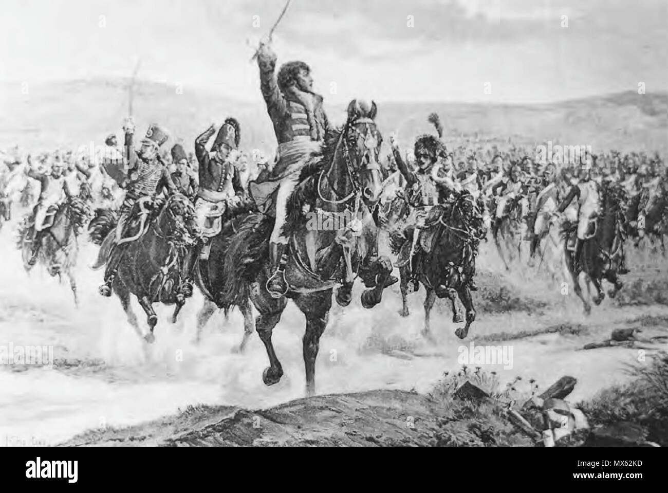 . English: Marshal Murat, the most famous of many daring and charismatic French cavalry commanders of the era, leads a charge at the Battle of Jena, 14 October 1806. 1895. Henri Chartier 125 Chartier-Murat at Jena - Stock Image