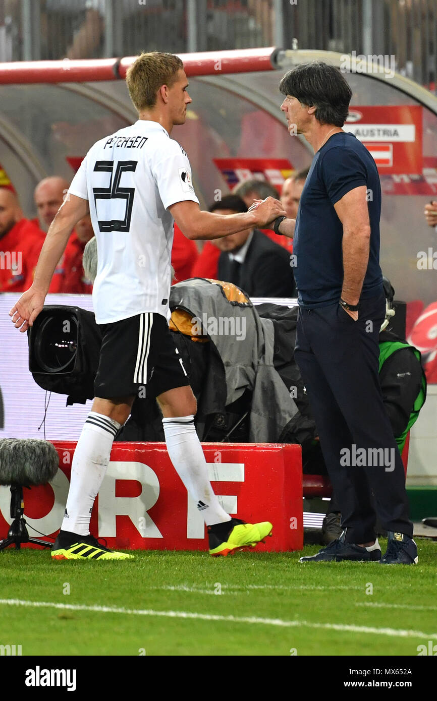 Bundescoach Joachim Jogi LOEW, LOW (GER) with Nils PETERSEN (GER) after Substitutions, Football Laender match, Friendly Match, Austria (AUT) -Germany (GER) 2-1, on 02.06.2018 Woerthersee Stadium in Klagenfurt/Austria   usage worldwide - Stock Image