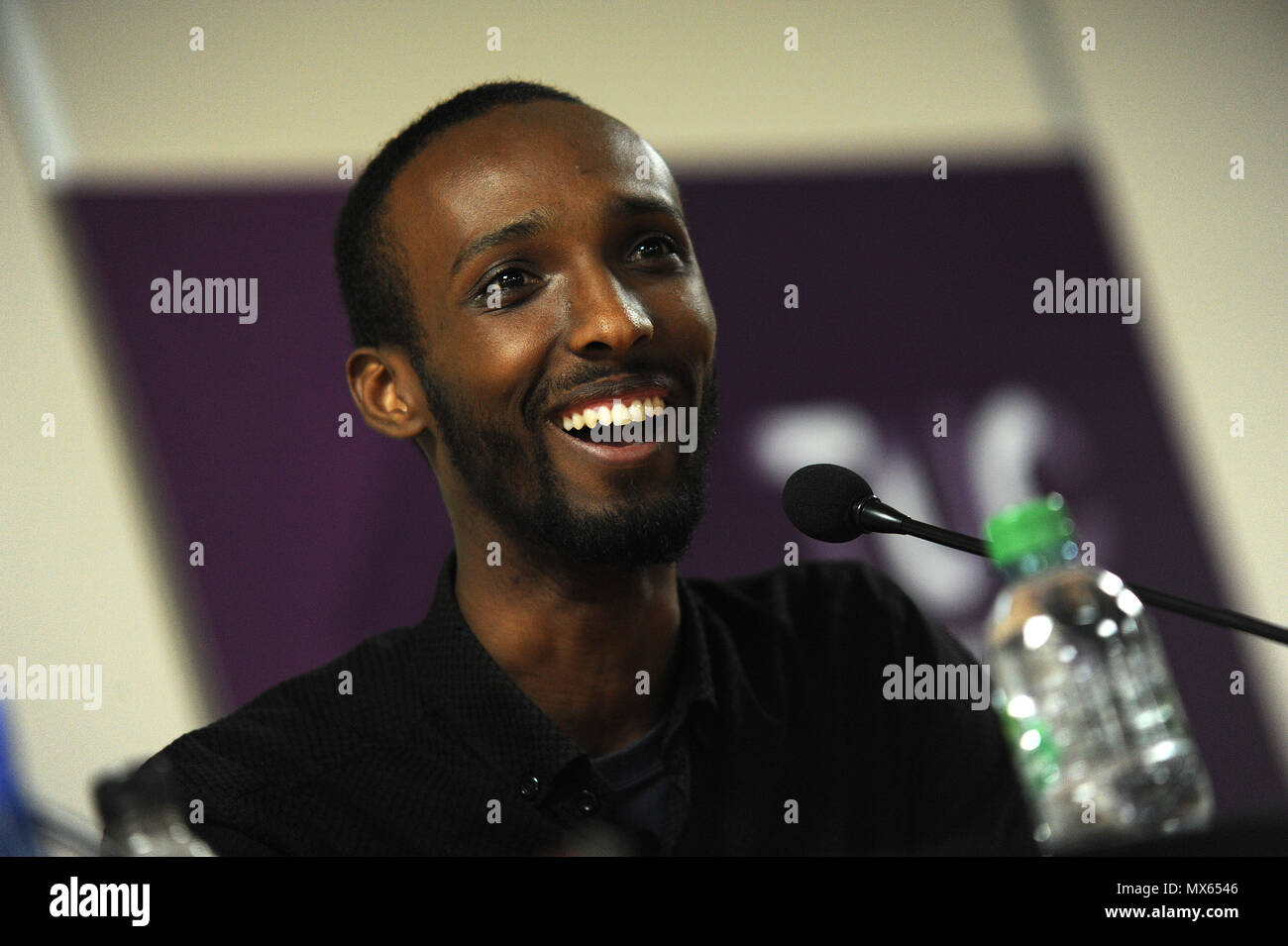 Birmingham, England. 2nd June, 2018.  Abdi Hussan, Muslim Association of Britain, delivers his  speech at the the Midlands TUC and Stand Up to Racism regional summit, 'Confronting the Rise in Racism', at the Midlands TUC Offices. Kevin Hayes/Alamy Live News - Stock Image