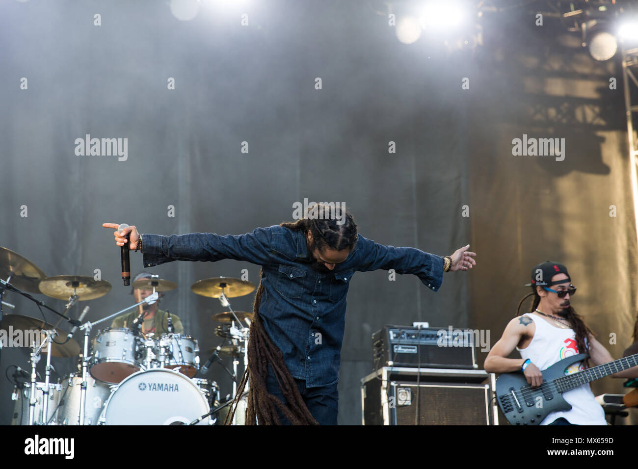 Toronto, Canada, 02nd June, 2018, Damian Marley, youngest son of reggae legend Bob Marley performs at the Fiel trip Music & Arts Festival in Toronto, Canada Credit: topconcertphoto/Alamy Live News Stock Photo