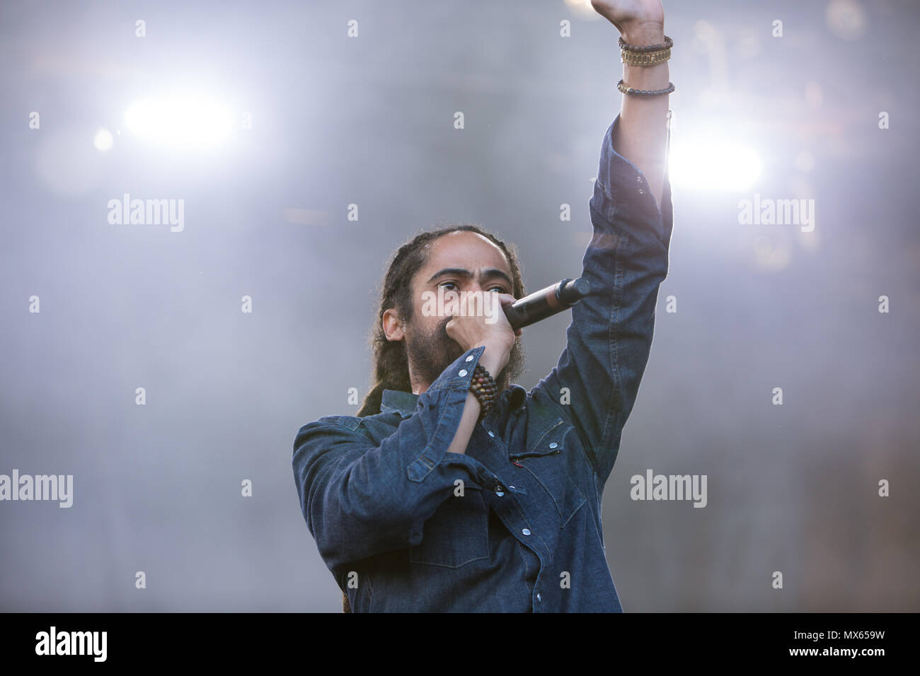 Toronto, Canada, 02nd June, 2018, Damian Marley, youngest son of reggae legend Bob Marley performs at the Fiel trip Music & Arts Festival in Toronto, Canada Credit: topconcertphoto/Alamy Live News - Stock Image