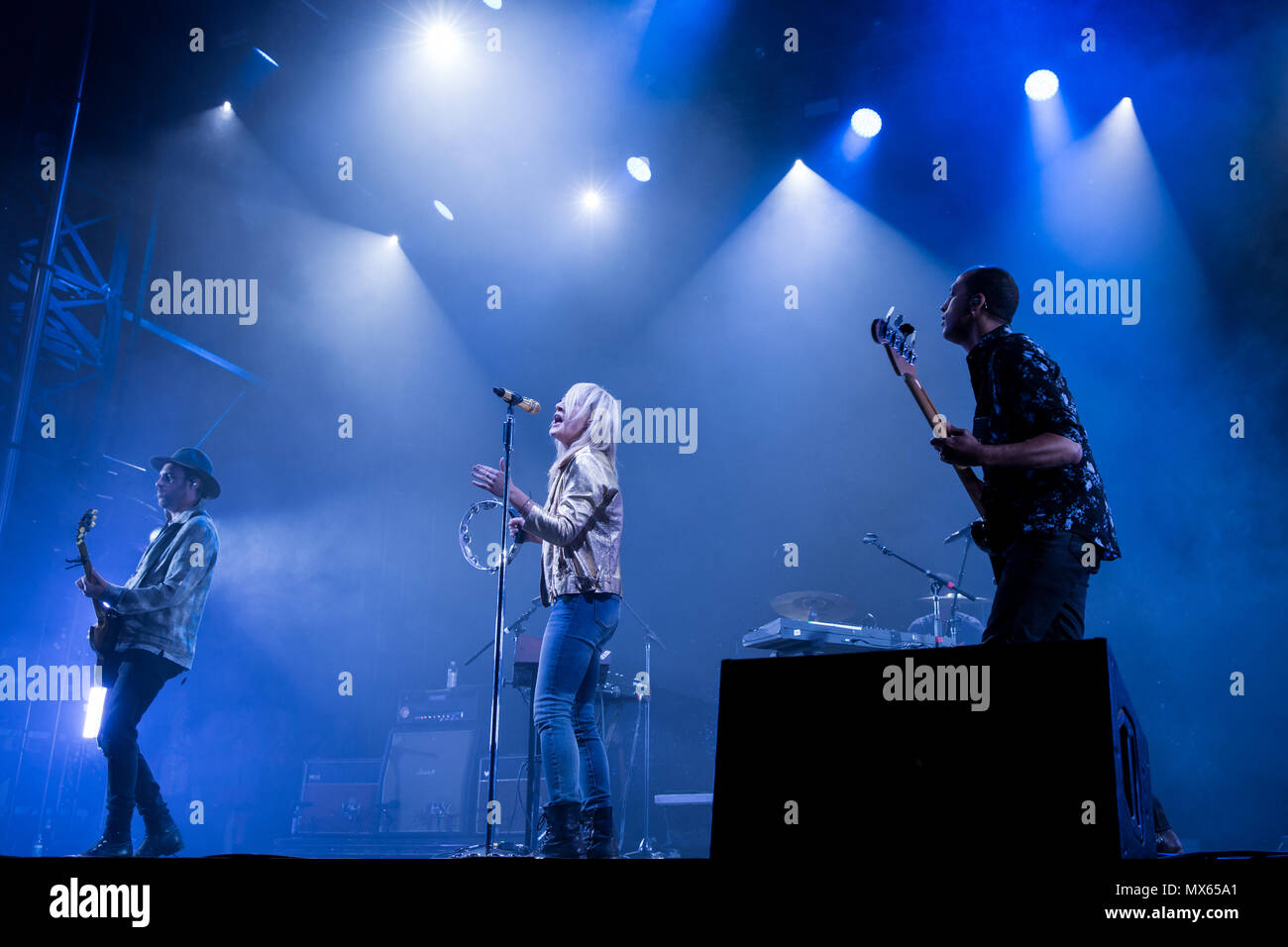 Toronto, CANADA. 02nd June 2018, Jimmy Shaw, Emily Haines and Joshua Winstead of Canadian Pop Rock band Metric performas at the 2018 Field Trip Music & Arts Festival in Toronto. Credit: Bobby Singh/Alamay Live News Credit: topconcertphoto/Alamy Live News - Stock Image
