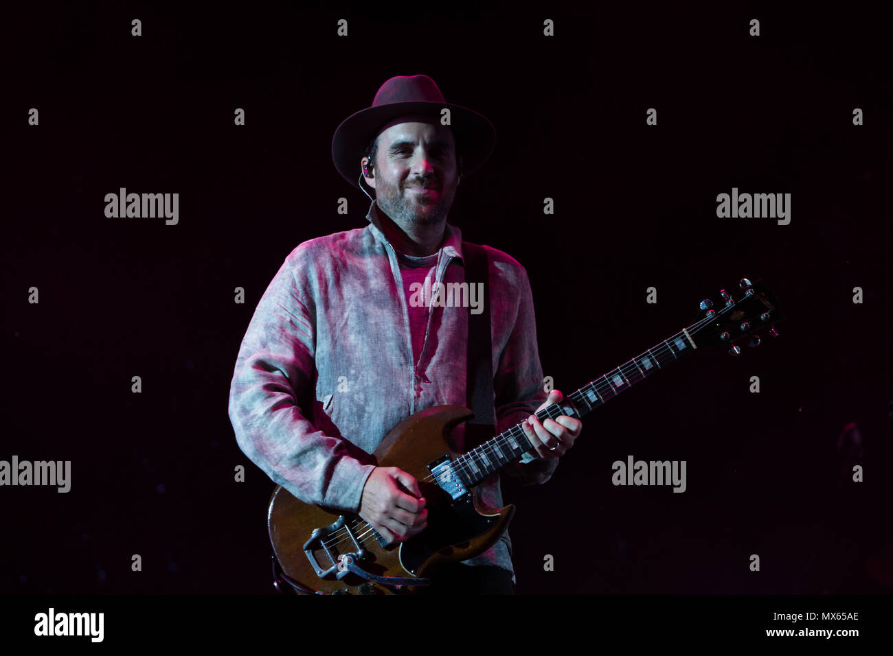 Toronto, CANADA. 02nd June 2018, Guitarist Jimmy Shaw of Canadian Pop Rock band Metric performas at the 2018 Field Trip Music & Arts Festival in Toronto. Credit: Bobby Singh/Alamay Live News Credit: topconcertphoto/Alamy Live News - Stock Image