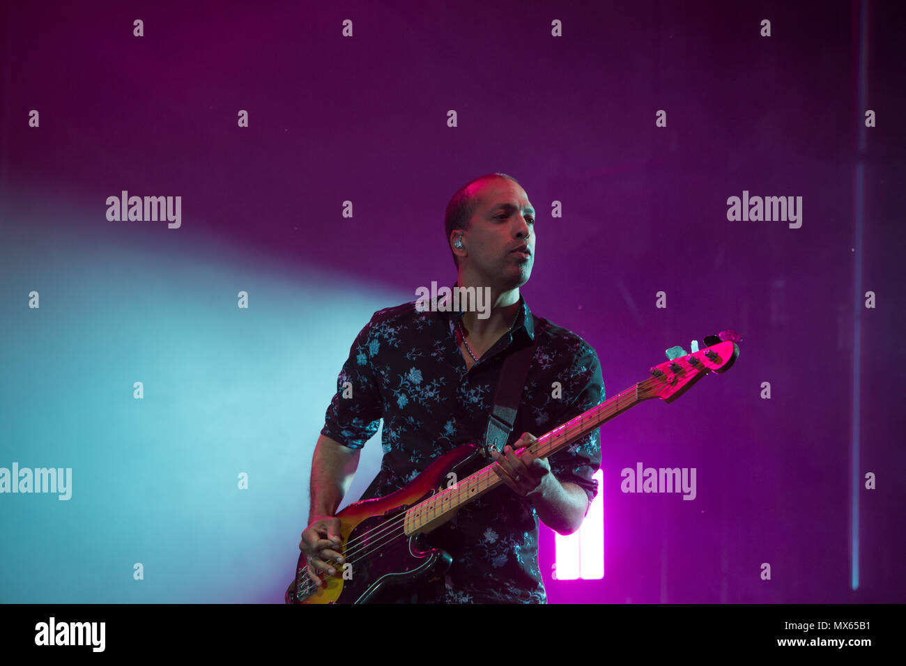 Toronto, CANADA. 02nd June 2018, Bassist Joshua Winstead of Canadian Pop Rock band Metric performas at the 2018 Field Trip Music & Arts Festival in Toronto. Credit: Bobby Singh/Alamay Live News Credit: topconcertphoto/Alamy Live News - Stock Image