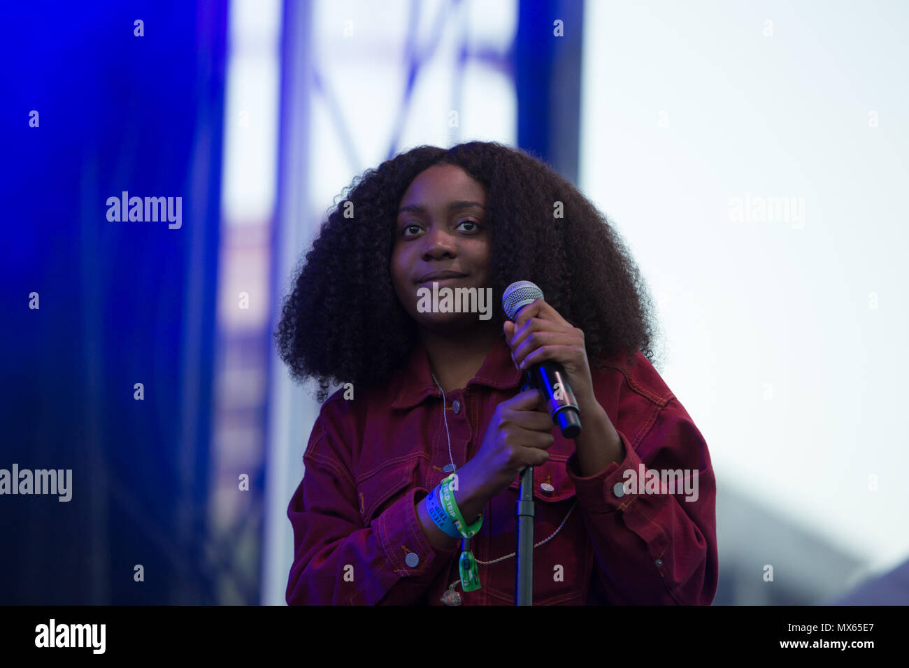 Toronto, Canada, 02nd June, 2018. Chicago rapper Noname, real name, Fatimah Nyeema Warner performs at the 2018 Field Trip Music & Arts Festival in Toronto, Canada. Credit: topconcertphoto/Alamy Live News - Stock Image