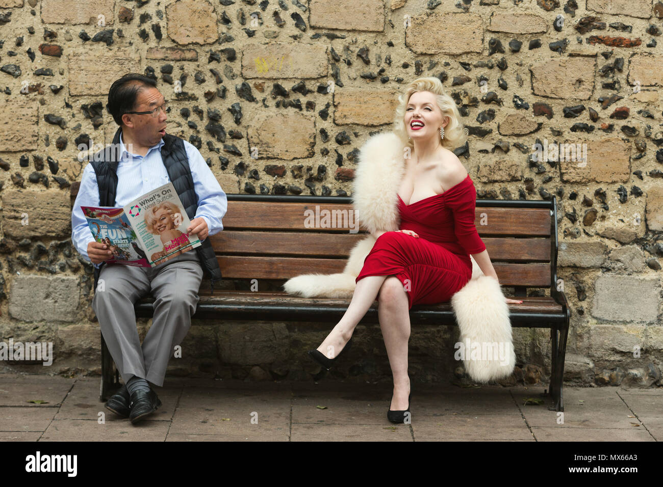 Bury St Edmunds, UK. 2nd Jun, 2018. Deputy Mayor Patrick Chung taken a gasp as he realises he is seated beside the world's leading Marilyn Monroe tribute artist, Suzie Kennedy before she opened the 'Timeless' exhibition at Moyses Hall, Bury St Edmunds, which includes stunning images from Marilyn Monroe's very earliest days as a model, behind-the-scenes captures from her film-work, breathtaking location and studio work and emotive candid images that showcase her true personality in a unique and engaging way. Credit: Keith mindham/Alamy Live News - Stock Image
