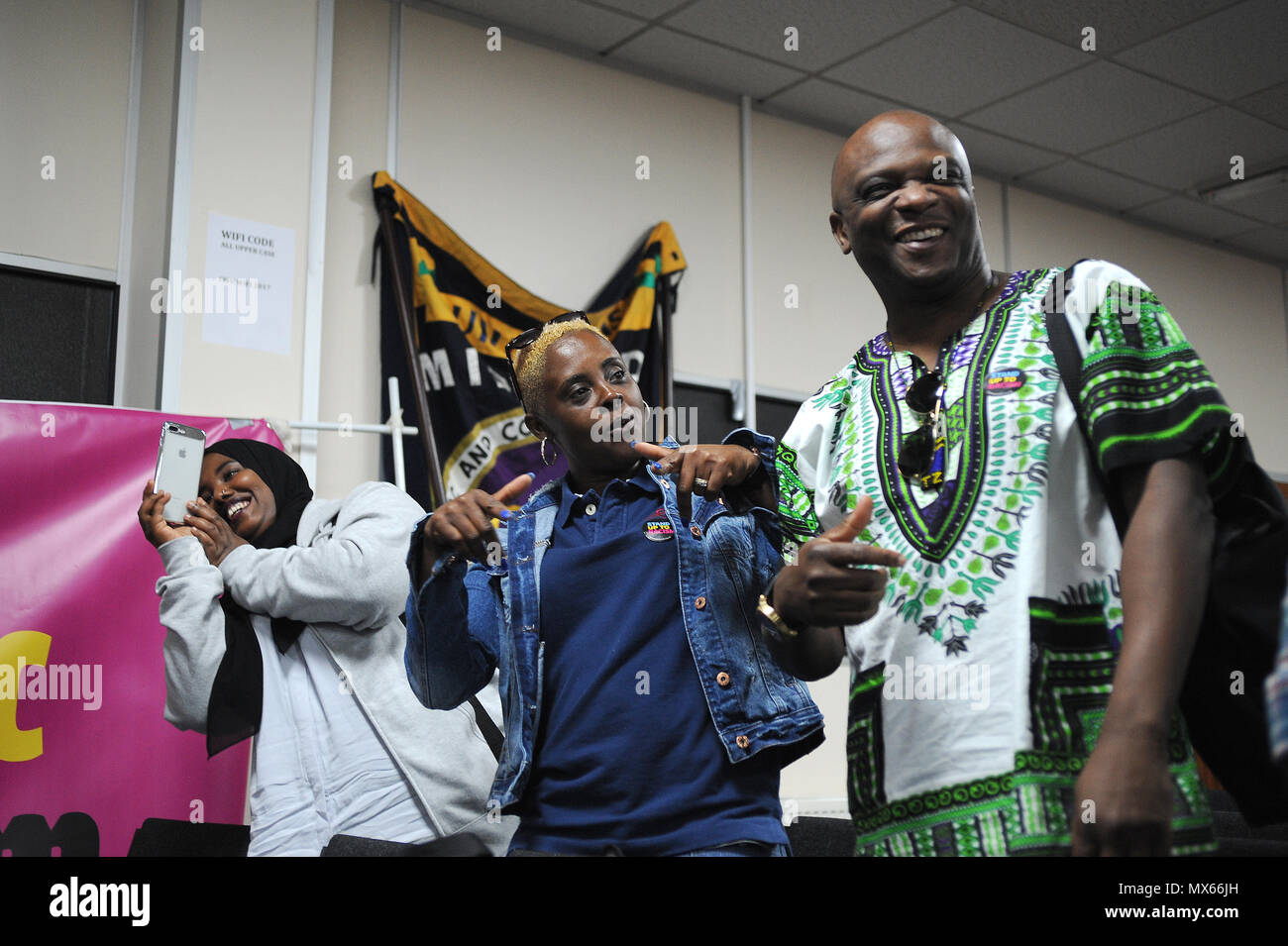 Birmingham, England. 2nd June, 2018.  Members of the audience dancing at the close of the Midlands TUC and Stand Up to Racism regional summit, 'Confronting the Rise in Racism', at the Midlands TUC Offices. Kevin Hayes/Alamy Live News - Stock Image