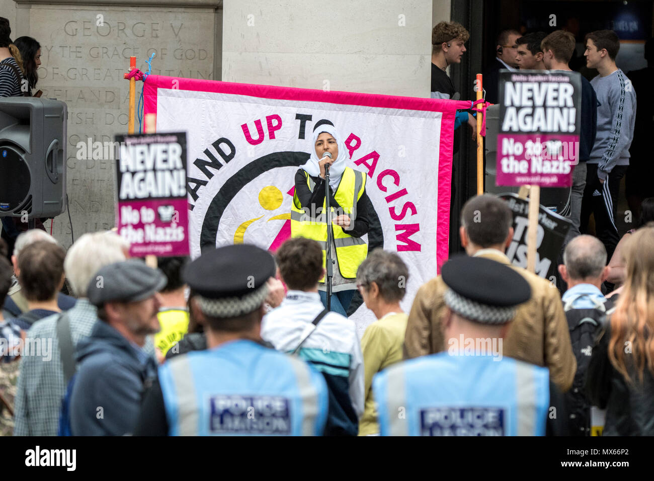 Manchester, UK. 2 June 2018 - Stand Up To Racism counter-protest in Manchester during a march and demonstration by pro-Tommy Robinson and DFLA/ FLA activists across the city. Keynote speakers, including Martin Hett's brother, Dan Hett, also spoke. Credit: Benjamin Wareing/Alamy Live News - Stock Image
