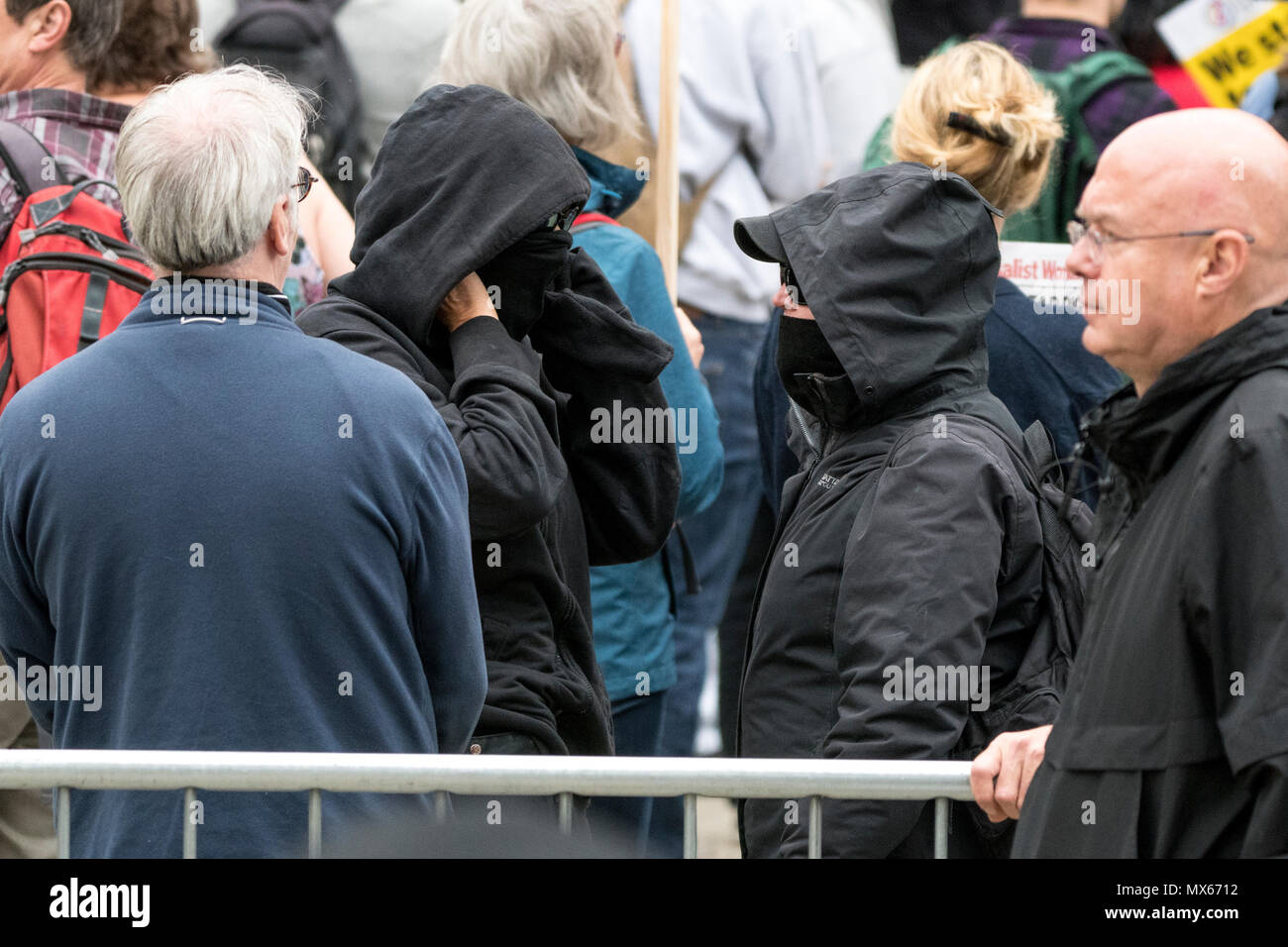 Manchester, UK. 2 June 2018 - Stand Up To Racism and Antifa counter-protest in Manchester during a march and demonstration by pro-Tommy Robinson and DFLA/ FLA activists Credit: Benjamin Wareing/Alamy Live News - Stock Image