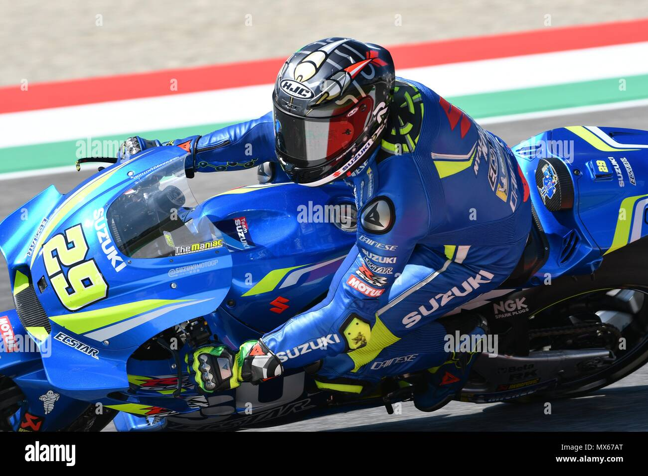 Mugello Circuit, Italy. 2nd Jun, 2018.  Italian Suzuki Ecstar Team rider Andrea Iannone during Qualifying session at 2018 GP of Italy of MotoGP on June,  2018 in Italy Credit: dan74/Alamy Live News - Stock Image