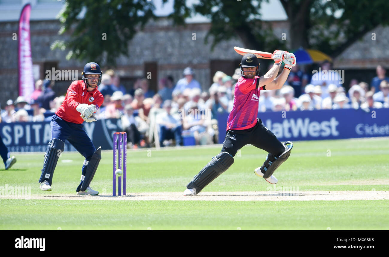 Eastbourne UK 3rd June 2018  - Laurie Evans of Sussex hits the ball to the boundary during the Royal London One Day cricket match between Sussex Sharks and Essex Eagles at The Saffrons ground in Eastbourne UK Credit: Simon Dack/Alamy Live News Stock Photo