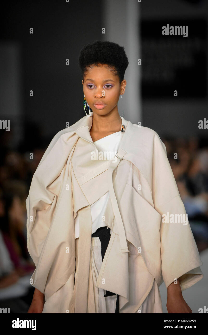 London Uk 3 June 2018 A Model Presents A Look By Lottie Edgar From Leeds Arts University On The Opening Day Of Graduate Fashion Week Taking Place At The Old Truman Brewery
