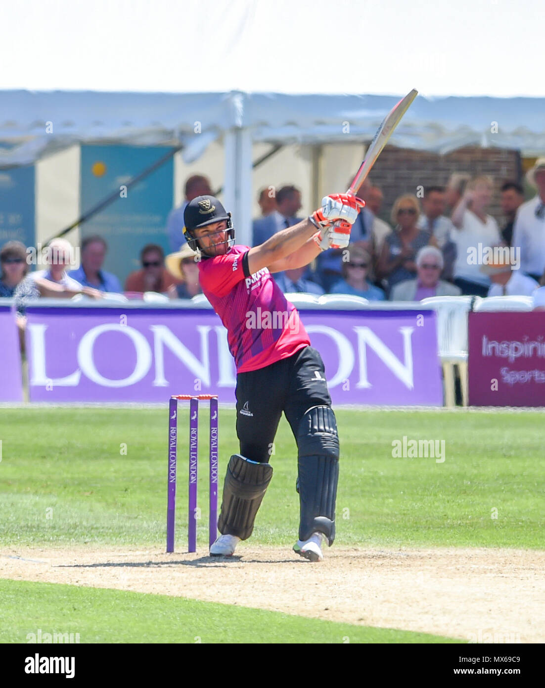 Eastbourne UK 3rd June 2018  - Laurie Evans of Sussex hits a boundary on his way to a century during the Royal London One Day cricket match between Sussex Sharks and Essex Eagles at The Saffrons ground in Eastbourne UK Credit: Simon Dack/Alamy Live News Stock Photo