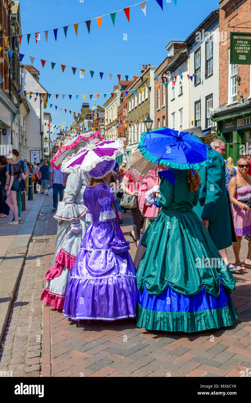 Rochester, Kent, UK. 03rd June, 2018.  Participants in Victorian costume at the anual Rochester Dickens festival Credit: lifes all white/Alamy Live News Stock Photo