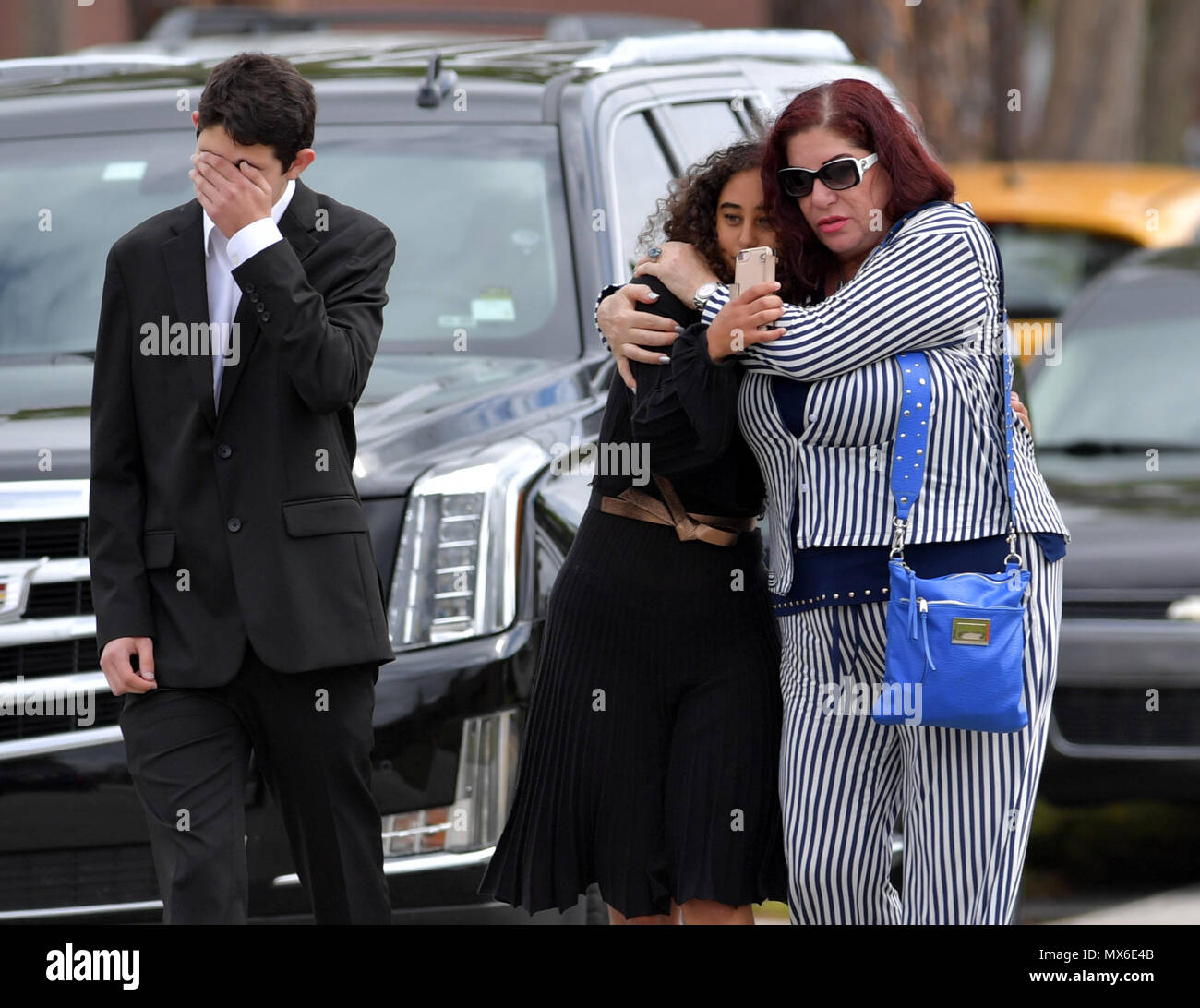 FORT LAUDERDALE,  FL - FEBRUARY 20: Peter Wang, 15, who was among the 17 people killed by a gunman at Marjory Stoneman Douglas High School in Parkland, Florida was admitted to the class of 2025 at his dream school, West Point Academy.  There was a memorial service for him at Kraeer Funeral Home and Cremation Center and than he was laid to rest at Bailey Memorial Gardens on February 20, 2018    People:  Peter Wang Stock Photo