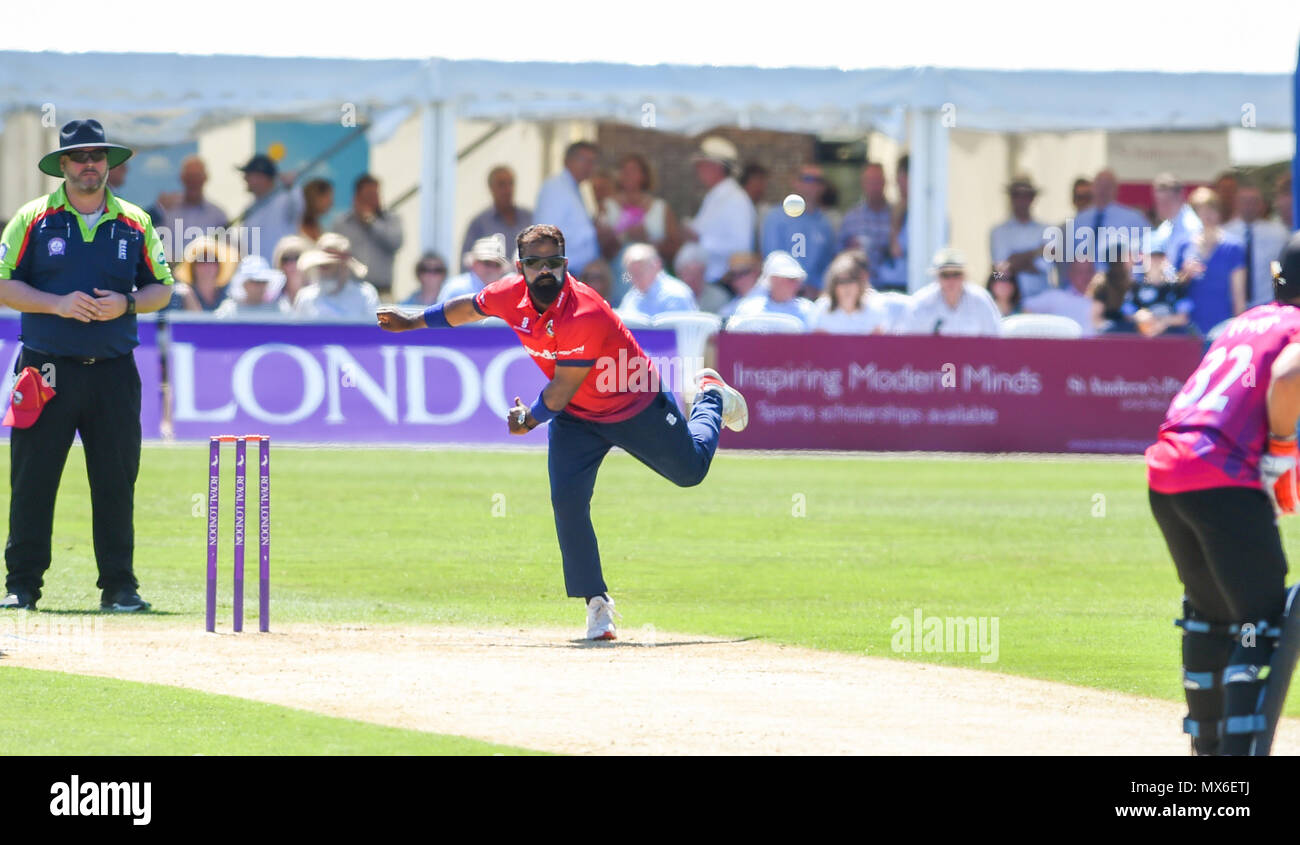 Eastbourne UK 3rd June 2018  - Ashar Zaidi bowling for Essex eagles during the Royal London One Day cricket match between Sussex Sharks and Essex Eagles at The Saffrons ground in Eastbourne UK Photograph taken by Simon Dack Credit: Simon Dack/Alamy Live News Stock Photo