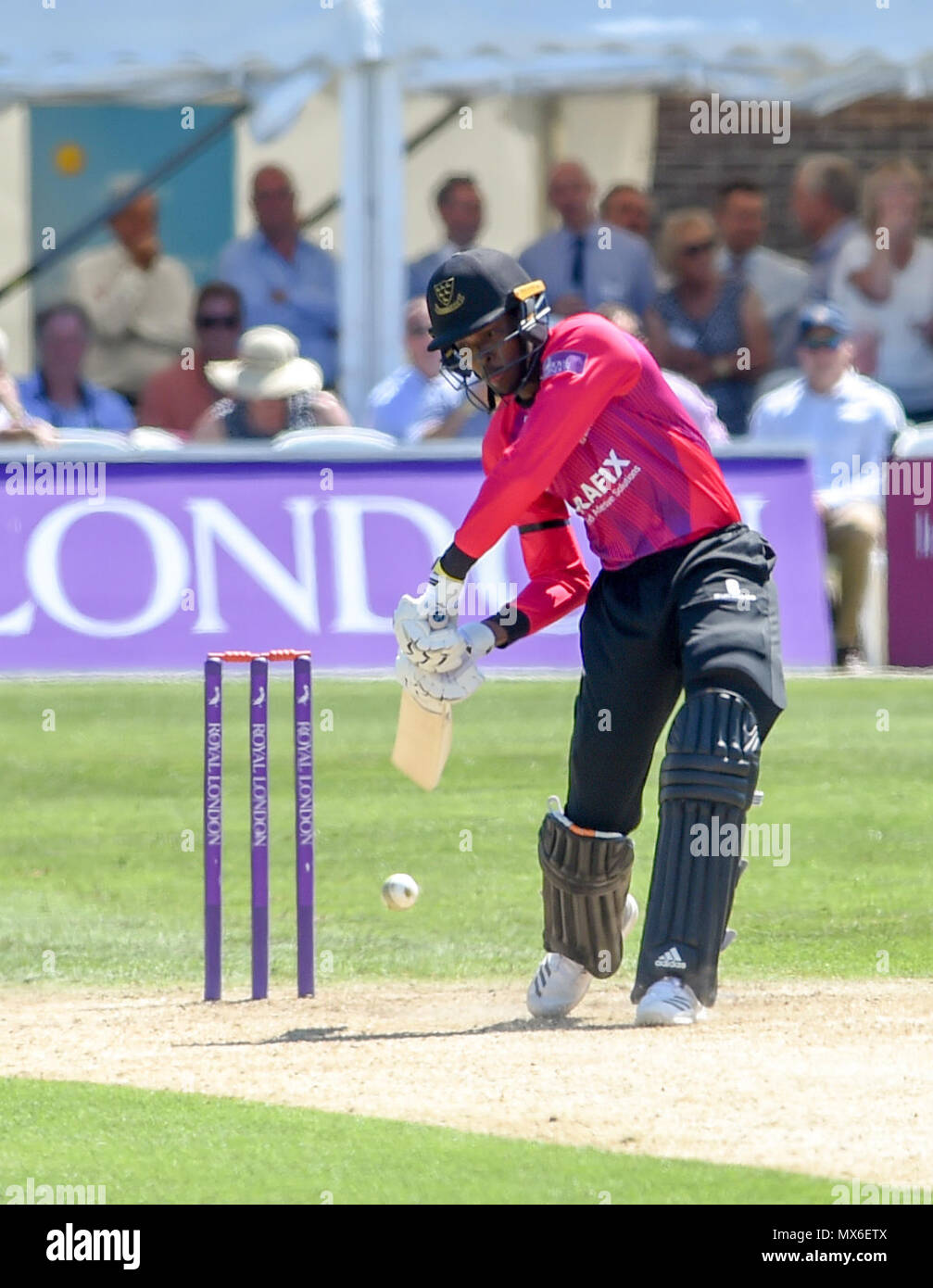 Eastbourne UK 3rd June 2018  - Jofra Archer batting for Sussex during the Royal London One Day cricket match between Sussex Sharks and Essex Eagles at The Saffrons ground in Eastbourne UK Photograph taken by Simon Dack Credit: Simon Dack/Alamy Live News Stock Photo