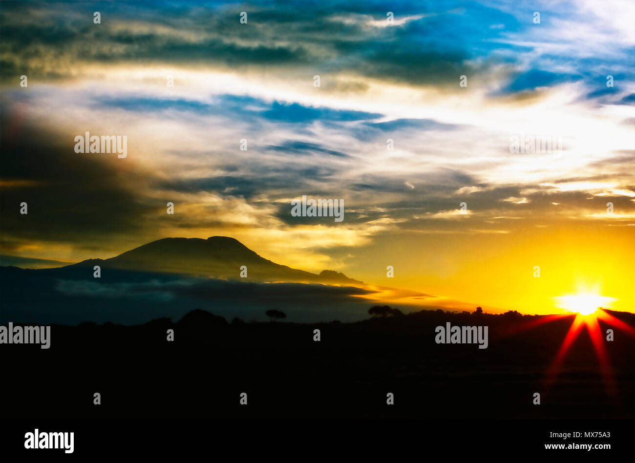 Sunrise at Mount Kilimanjaro, Tanzania - Stock Image